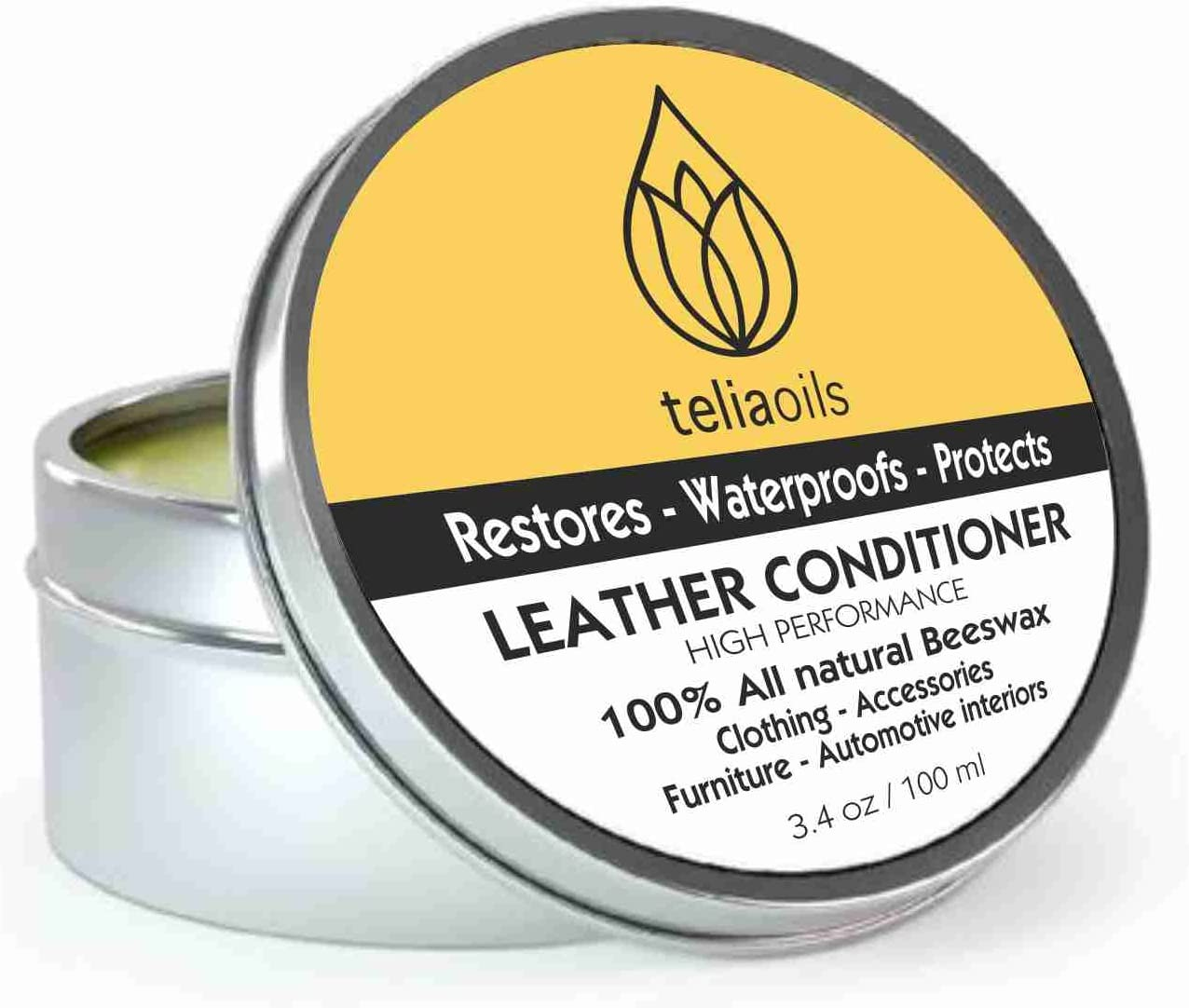 Teliaoils Leather Conditioner - Natural Clear Leather Repair Care Balm for All Colors - Waterproofing Leather Salve Restorer, Softener & Protector - for Upholstery, Furniture, Shoes, Sofa & More
