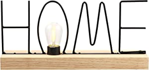 """TailGlow """"Home"""" Word Sign Decorative Lamp for Tabletop, 14"""" Wood Base for Living Room, Bedroom, Entry, Battery Operated Room Decor"""