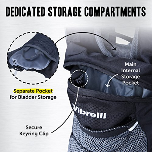 Vibrelli Hydration Pack & 2L Hydration Bladder - High Flow Bite Valve Hydration Backpack with Anti-Microbial Technology by Vibrelli (Image #3)