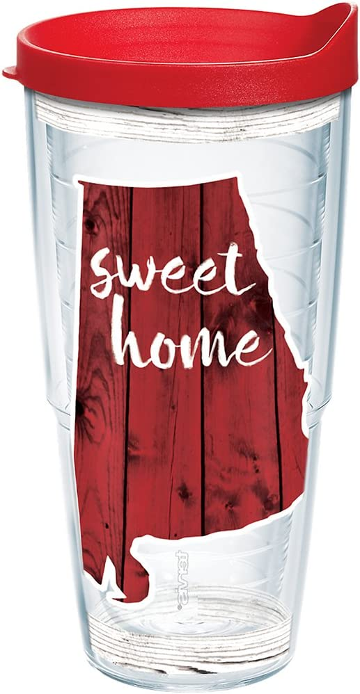 Tervis Sweet Home Alabama Insulated Tumbler with Wrap and Red Lid, 24oz, Clear