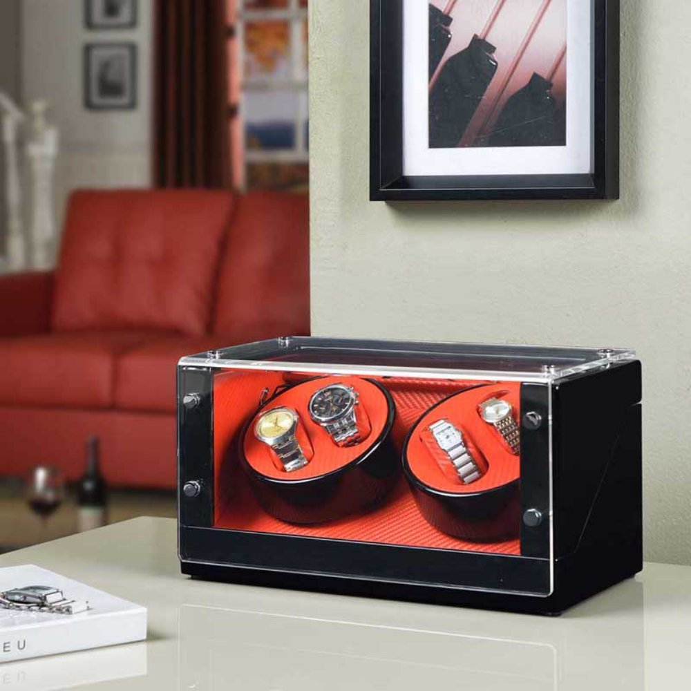 Nathan Direct Racing 4-Watch Automatic Watch Winder with Silent Motor and 4 Program Settings, Red/Black