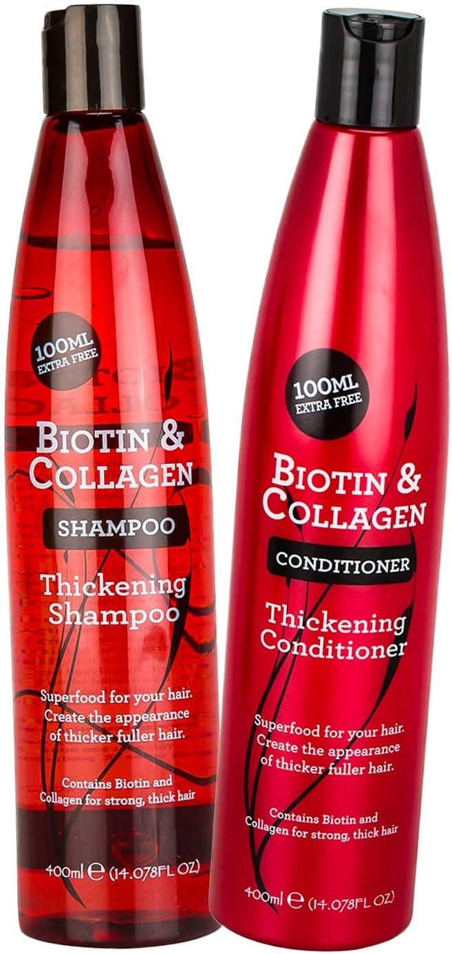 Duo de Champú espesante 400 ml y acondicionador de biotina y colágeno 400 ml