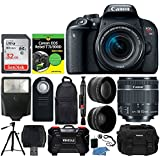 Canon EOS Rebel T7i DSLR Camera + EF-S 18-55mm IS STM Lens + 32GB Memory Card + Wide Angle & Telephoto Lens + Photo4Less DC59 Case + Dummies Book + Slave Flash + Wireless Remote + Tripod – Full Bundle