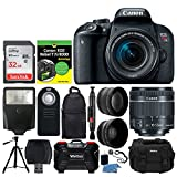 Cheap Canon EOS Rebel T7i DSLR Camera + EF-S 18-55mm IS STM Lens + 32GB Memory Card + Wide Angle & Telephoto Lens + Photo4Less DC59 Case + Dummies Book + Slave Flash + Wireless Remote + Tripod – Full Bundle