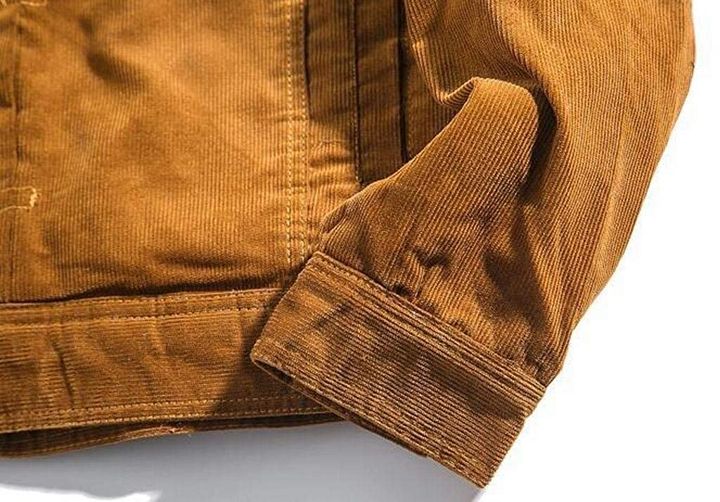 ARTFFEL Mens Button Up Winter Warm Corduroy Sherpa Lined Quilted Jacket Coat Outerwear