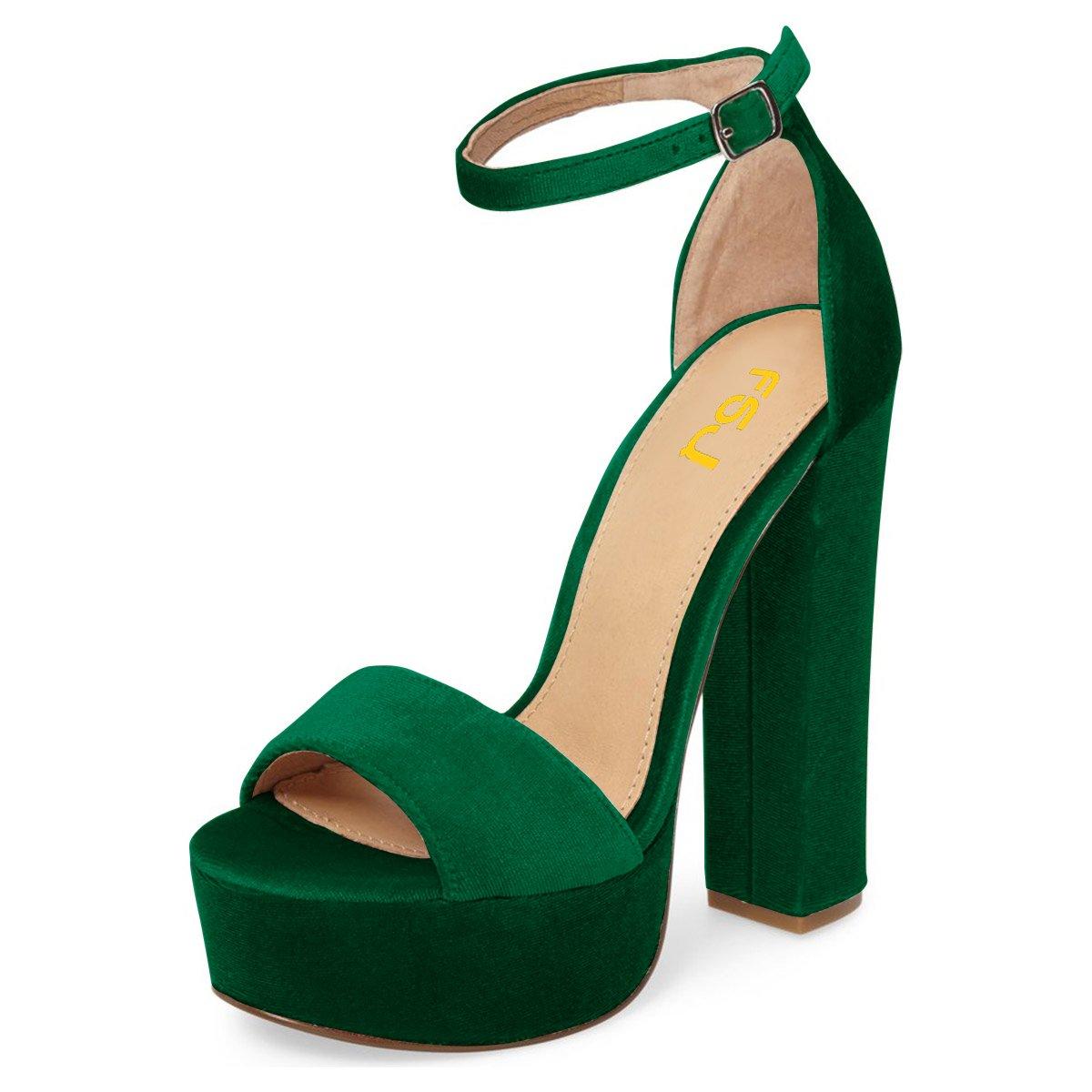 FSJ Women Sexy Ankle Strap Platform Sandals Chunky High Heel Open Toe Velvet Shoes Size 4-15 US B0796LSJ1Y 15 B(M) US Green