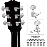 lotmusic Guitar Tuning Pegs, Tuners Machine, 18:1 3L3R, Tuner Keys Heads, Closed Chrome for Luthier DIY Repair (Shape A)