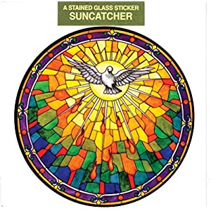 Holy Spirit Window Decal, Reusable Vinyl Suncatcher, Stained Glass Design