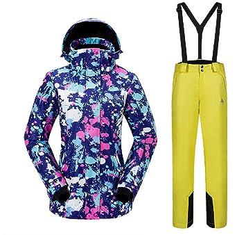 Edited Tuta da Sci da Donna Inverno Large Size Giacca da Alpinismo Antivento e Impermeabile Pantaloni da Sci Outdoor