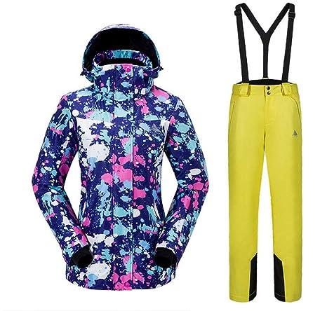 DUBAOBAO Traje de esquí de Mujer, Chaqueta y pantalón, Traje de ...