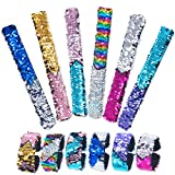 Pawliss 12 Pack Little Mermaid Magic Charm Reversible Sequin Slap Bracelets, Birthday Party Favors Supplies Gifts for Girls Kids, Pink Blue Purple