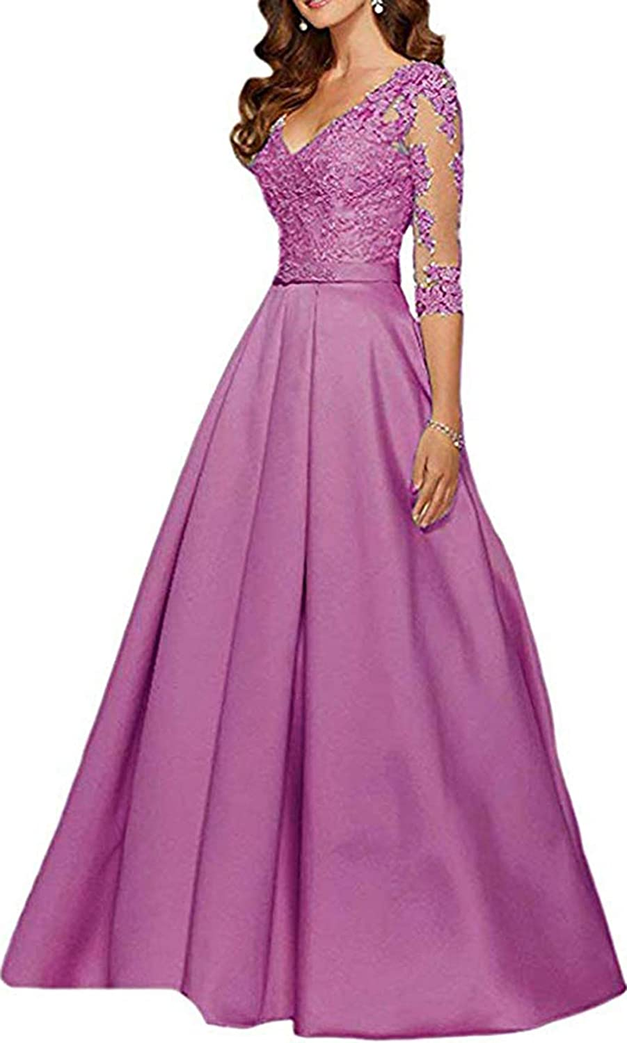 Dark Mauve Ri Yun Womens V Neck 3 4 Sleeves Prom Dresses Long 2019 Beaded Lace Mother of The Bride Dresses with Pockets