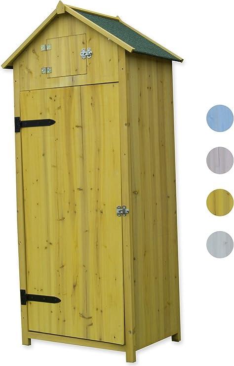 Woodside - Garita de madera estilo caseta de playa para exteriores, armario de almacenamiento, cobertizo para herramientas para el jardín., amarillo: Amazon.es: Jardín