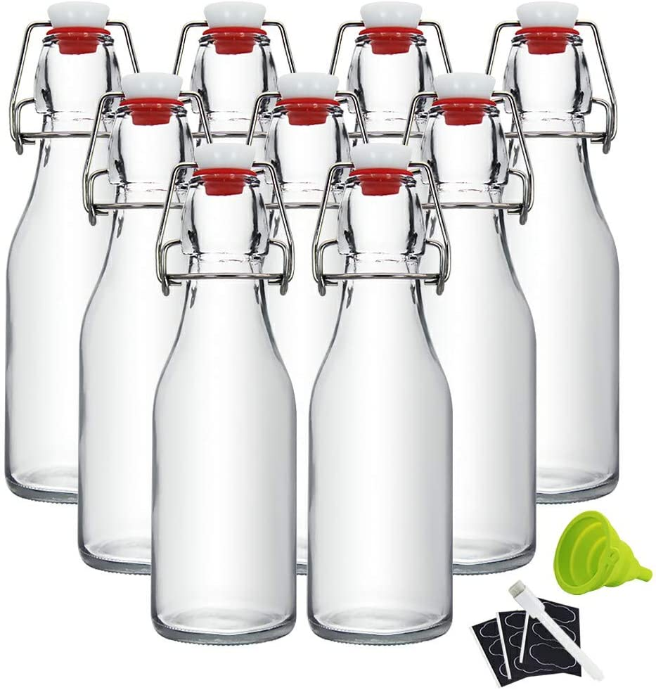 8oz Clear Swing Top Bottles -Glass Beer Bottle with Airtight Rubber Seal Flip Caps for Home Brewing Kombucha,Beverages,Oil,Vinegar,Water,Soda,Kefir (9 Pack)