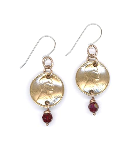 75th Birthday Jewelry Gift Ideas For Women 1942 Penny Earrings Swarovski Crystal Beads Garnet Red January