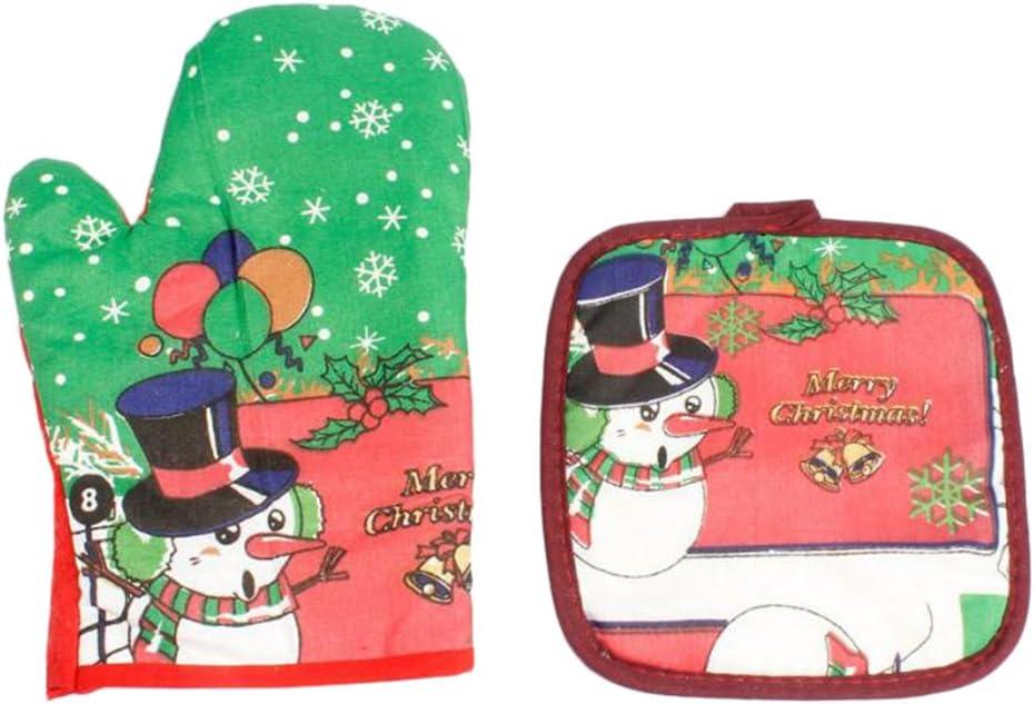 Blau Mackur Weihnachten Schneemann Ofenhandschuh und Topflappen S/ätze Hitzebest/ändige 2 St/ück