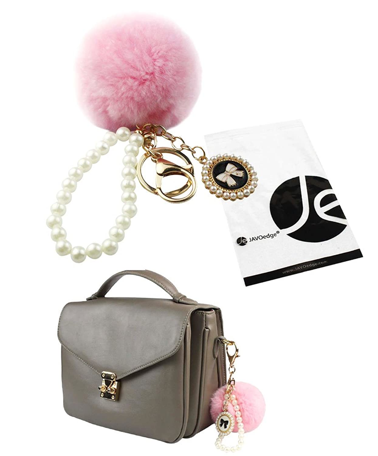JAVOedge Pastel Furry Pom Pom Style Ball Keychain with Pearl Wristlet Chain and Keyring