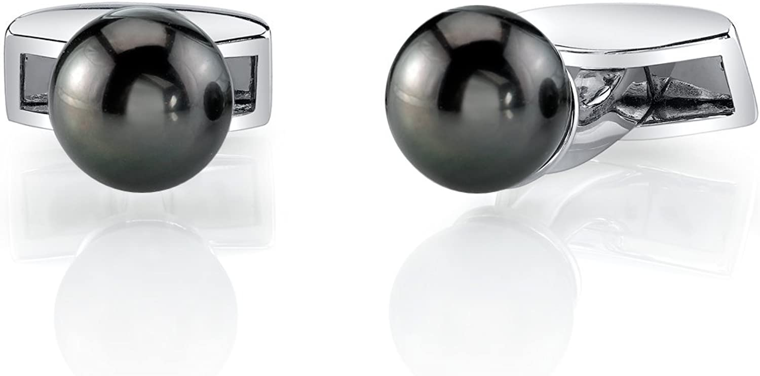 Sterling Silver Tahitan South Sea Cultured Pearl Cufflinks - AAAA Quality
