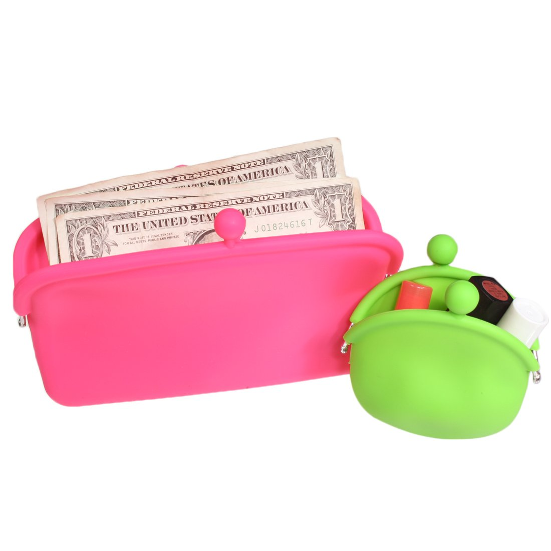 kilofly Candy Color Soft Silicone Coin Purse & Multi-Purpose Pouch Combo Set AWP337set2C