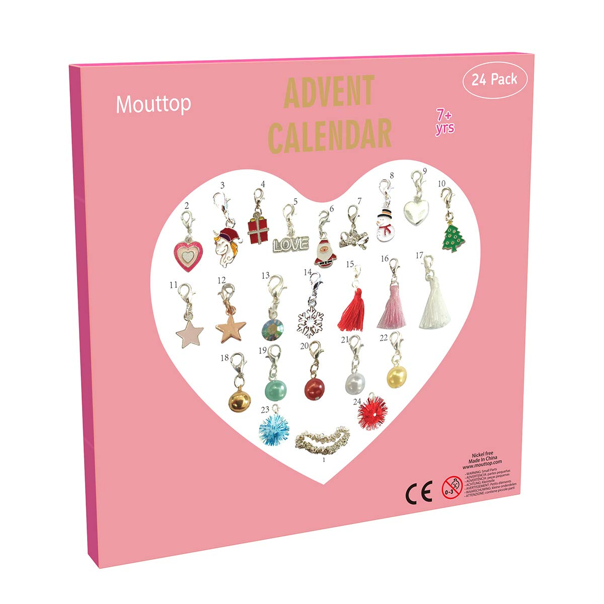 Mouttop Advent Calendar,Charm Bracelet DIY 23Charms with 1 Bracelet Fashion Jewelry Christams Advent Calendars for Kids(2019 Pink)