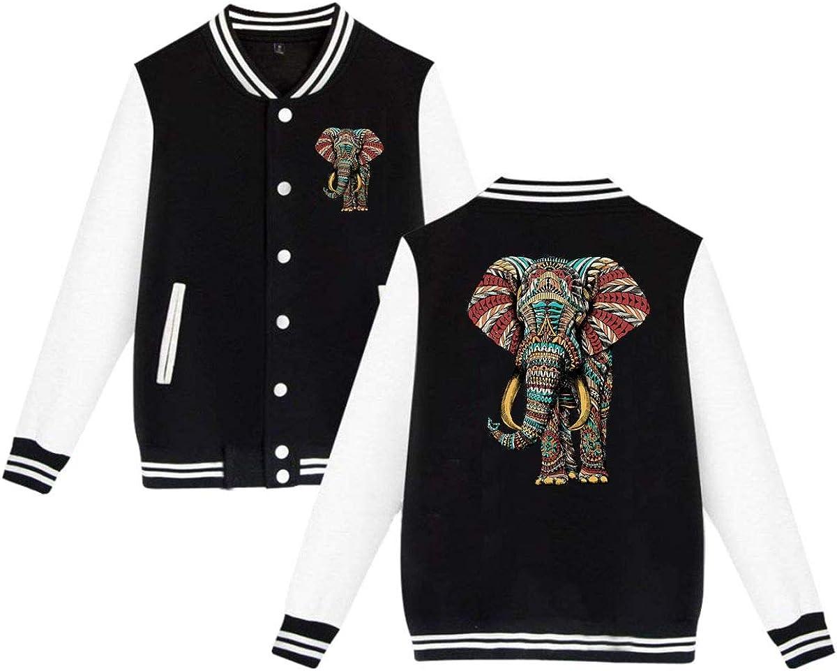 MEILOP Unisex Tattoo Elephant with Patterns Baseball Jacket Uniform Sweater Coat
