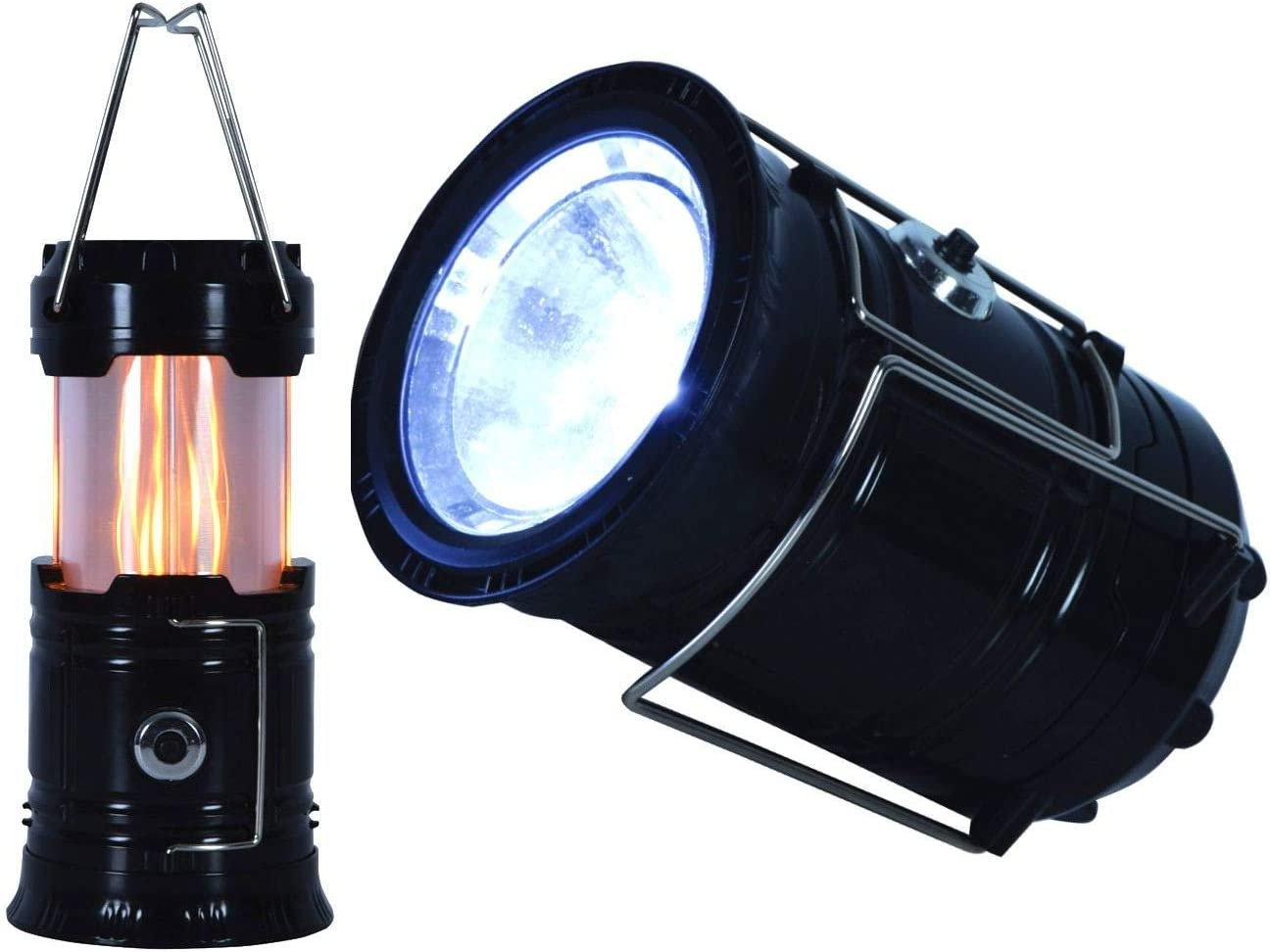 2in1 tragbar RCE RCE496551 Taschenlampe Schwarz mit wei/ßem Licht und Flammeneffekt LED Camping