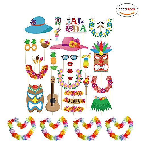 Funnlot Luau Hawaiian Photo Booth Props Kit 60Pack come with Hawaiian Leis Summer Luau Party Supplies Haiwaii Party Decorations (multicolored)
