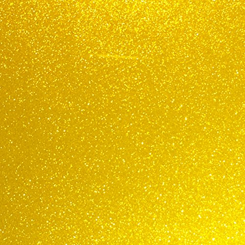 Yellow Glitter Vinyl 12 by 15 FEET Transparent Glitter Adhesive Roll - for Cricut, Silhouette Cameo, Craft Cutters, and Die Cutters by StyleTech (Yellow Glitter)