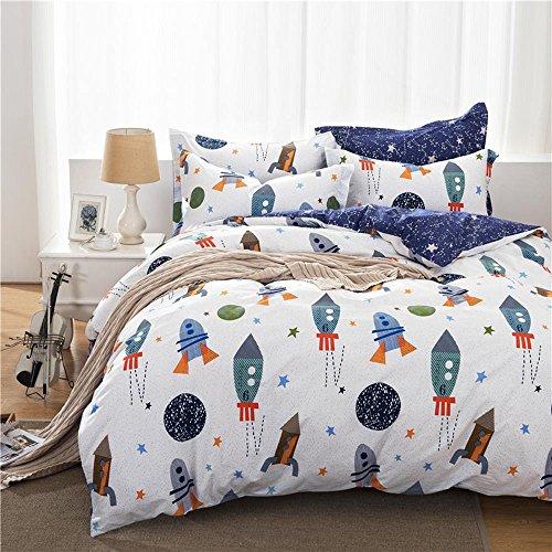 Four Star Round Comforter - MeMoreCool Universe Adventure 100% Cotton 4-Piece Bedding Set Cartoon Rocket Boys Duvet Cover Set Blue and White Children Bed Set