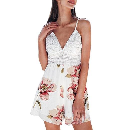 d01aca25c9d Rambling 2018 Newest Fashion Lace V-Neck Women Floral Print Bowknot Bandage  Rompers Short Jumpsuit