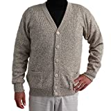 CARDIGAN GOLF SWEATER JERSEY V neck buttons and Pockets Alpaca Blend made in PERU HEATEHER BEIGE L