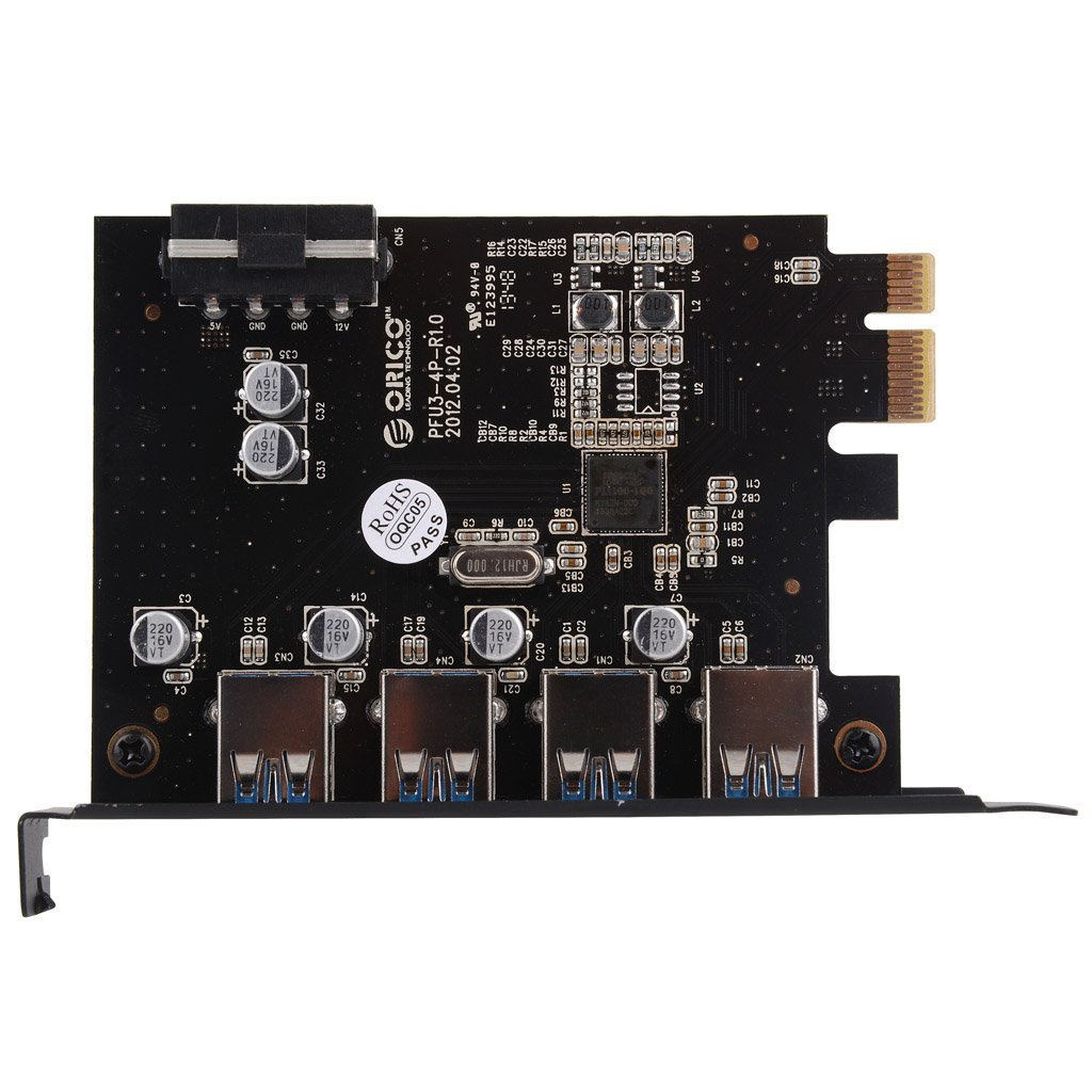 ORICO USB3.0 4 Port PCI Express to USB3.0 Host Controller Card with Power Cable Compatible with Windows 2000//XP//VISTA//7//8//10、MAC OS、Linux
