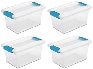 STERILITE 4 Pack 19628604 Medium Clip Box Clear Storage Tote Container with Lid