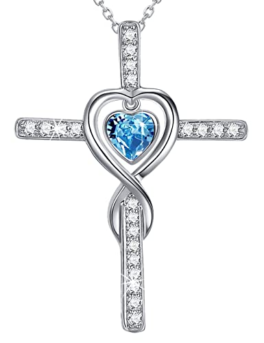 1cf520fb47d75 March Birthstone Blue Aquamarine Necklace Gifts for Women Sterling Silver  Jewelry Love Infinity Cross Necklace Anniversary