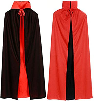 Black Red Reversible Long Cloak Cape Pagan Wizard Witch Halloween Dress Costume