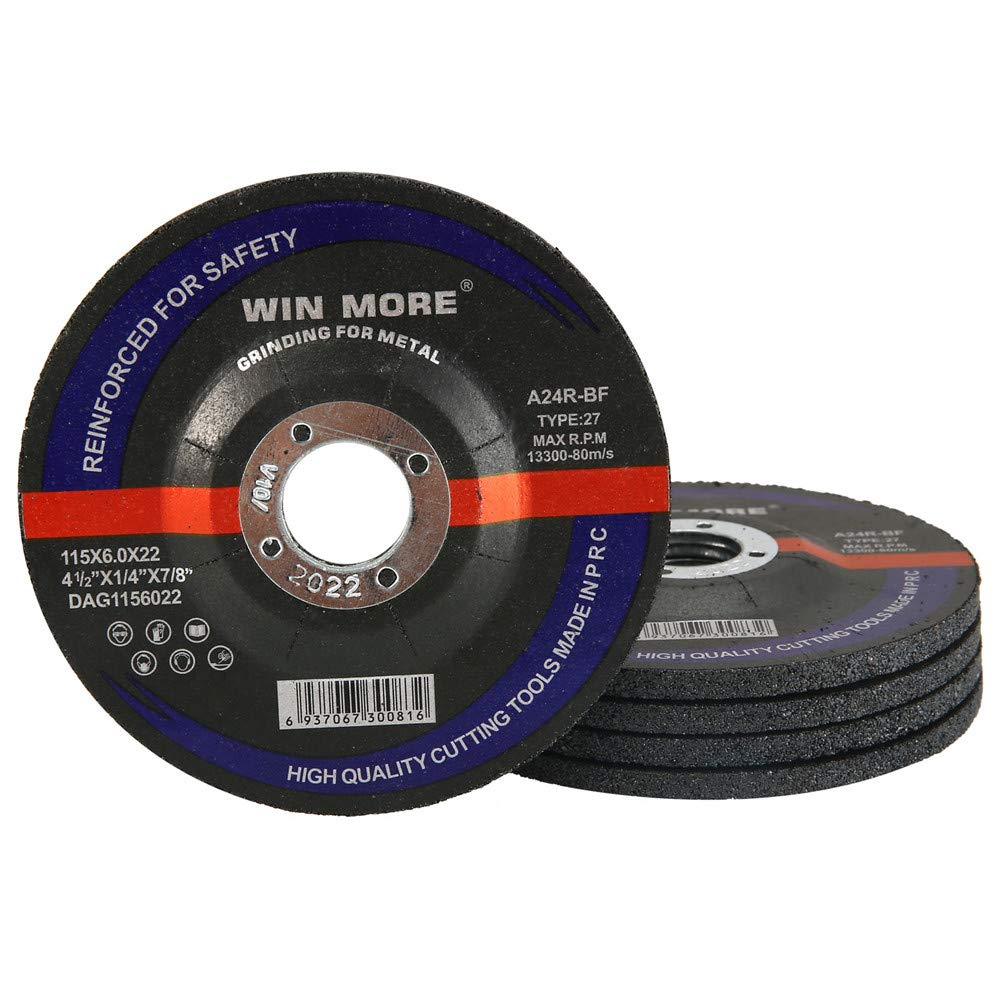 Win More 5 Pack-4.5 Grinding Wheel for 4.5 Grinder Grinding Wheels for Metal /& Stainless Steel 4-1//2 x 1//4 x 7//8-Inch