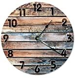 Cheap 10.5″ PRINTED Realistic Photo of OLD BARN WOOD CLOCK (Not Actual Wood) of a Wood Look Clock – Indoor Clock