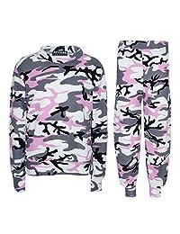 a2z4kids Kids Girls Camouflage Print Crop Top Legging Jacket Tracksuit Age 5-13 Years