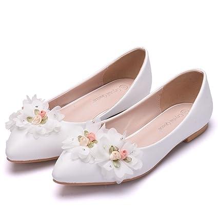 Mujer Nupcial Zapatos Para Boda Mujer Blanco Ponerse Flor Resplandecer Mocasines Bajo Talones Señoras Ballet Pisos