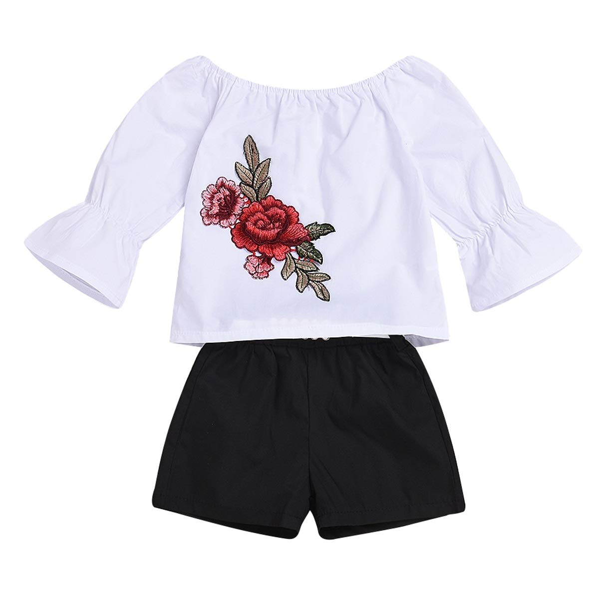 Casual Beach Top Pants Outfits for Infant Toddler Aisheny Baby Girls Embroideries Flower T-Shirt Shorts Set