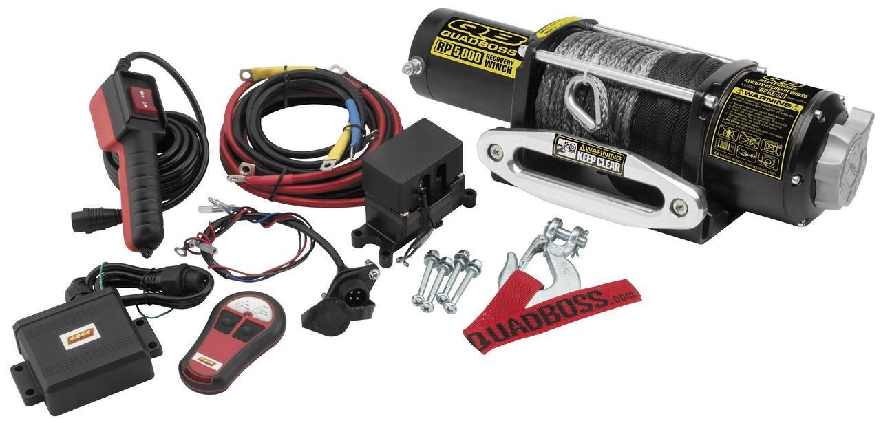 New QuadBoss 5000 lb Winch With Synthetic Rope & Model Specific Mounting Bracket - 2005-2014 Kawasaki Mule 610 4x4 UTV