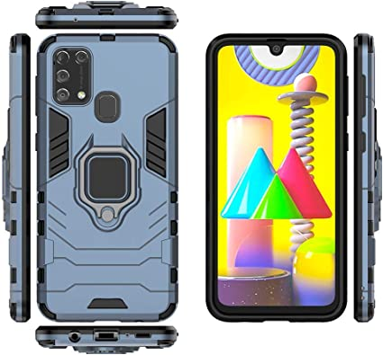 Shockproof Rugged Shell with Kickstand /& Protection Bumper TANYO Phone Case for Samsung Galaxy M31 TPU//PC Hybrid Armor Cover Black