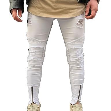 Gladiolus Denim Slim Fit Vaqueros para Hombre Destruido Desgarrar Agujeros Parcheado Pantalones