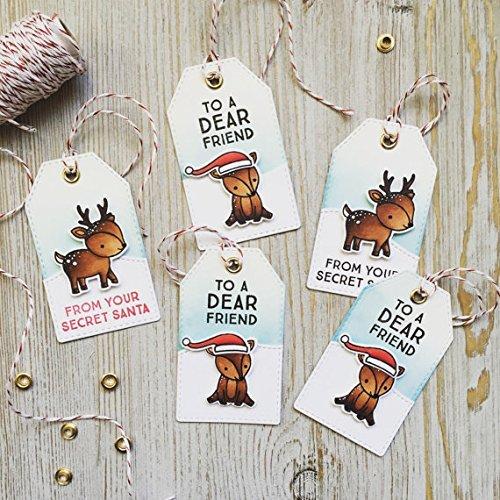 reindeer christmas gift tags deer handmade holiday reindeer santa hat - Christmas Tags Handmade