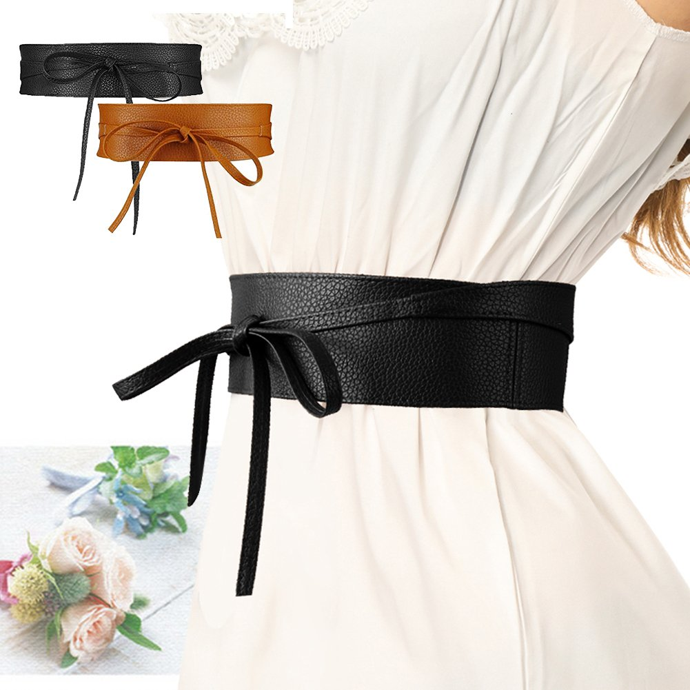 SESY Women's Faux Leather Waist Belt Obi Boho Band Wrap Around Bow Tie for Dresses