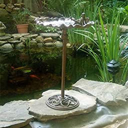 Garden Pixie/fairy Birdbath Cast Iron Rust Finish