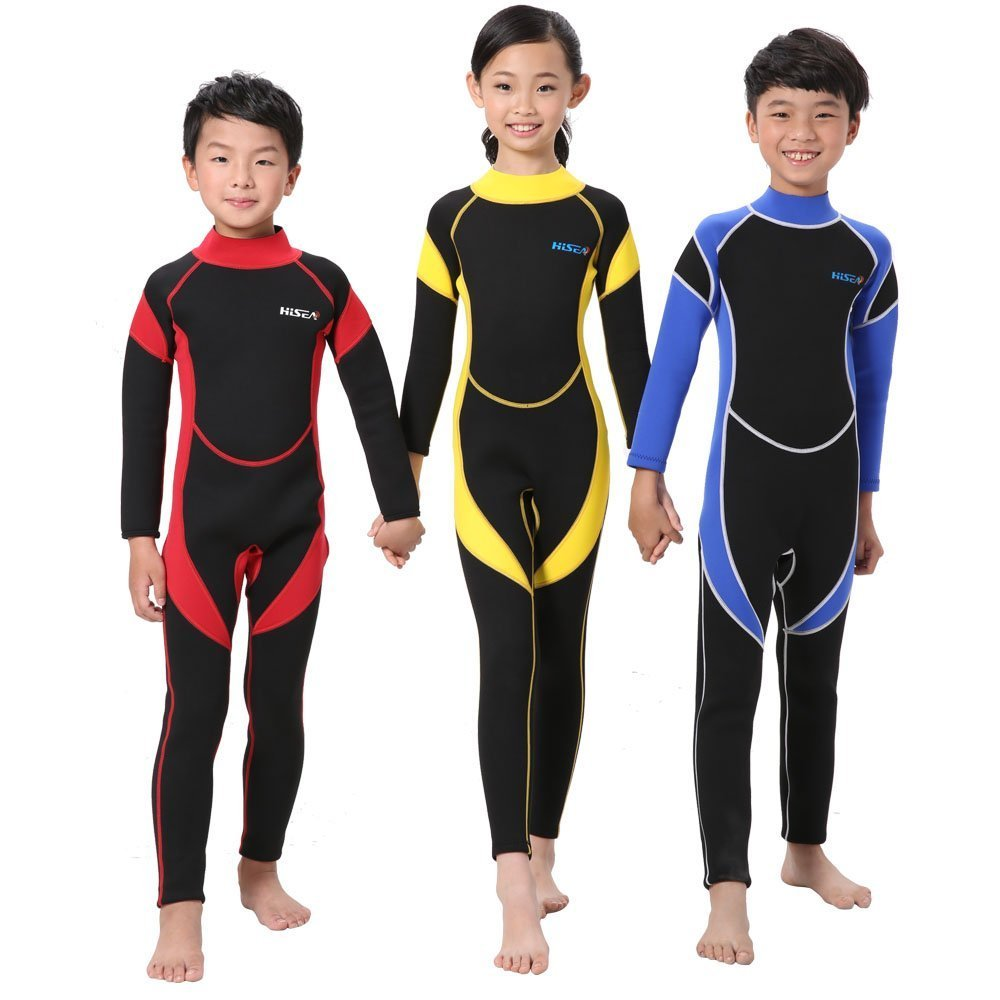 Sportmars 2.5mm Childrens Wetsuits Kids Wet Suits Sunscreen Swimwear Consoles Cool Thermal Insulation Long-Sleeved Unisex