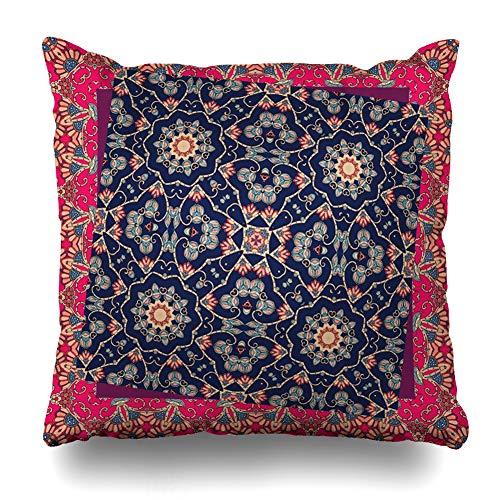 Ahawoso Throw Pillow Covers Naive Blue Drawing Unusual Bandana Napkin Stylization Ethnic Festive Folk Folklore Folkloric Design Home Decor Pillowcase Square Size 16