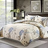 yellow and light blue - Duvet Cover Set with Zipper Closure and Corner Ties,3 Piece (1 Duvet Cover + 2 Pillow Shams),King (104
