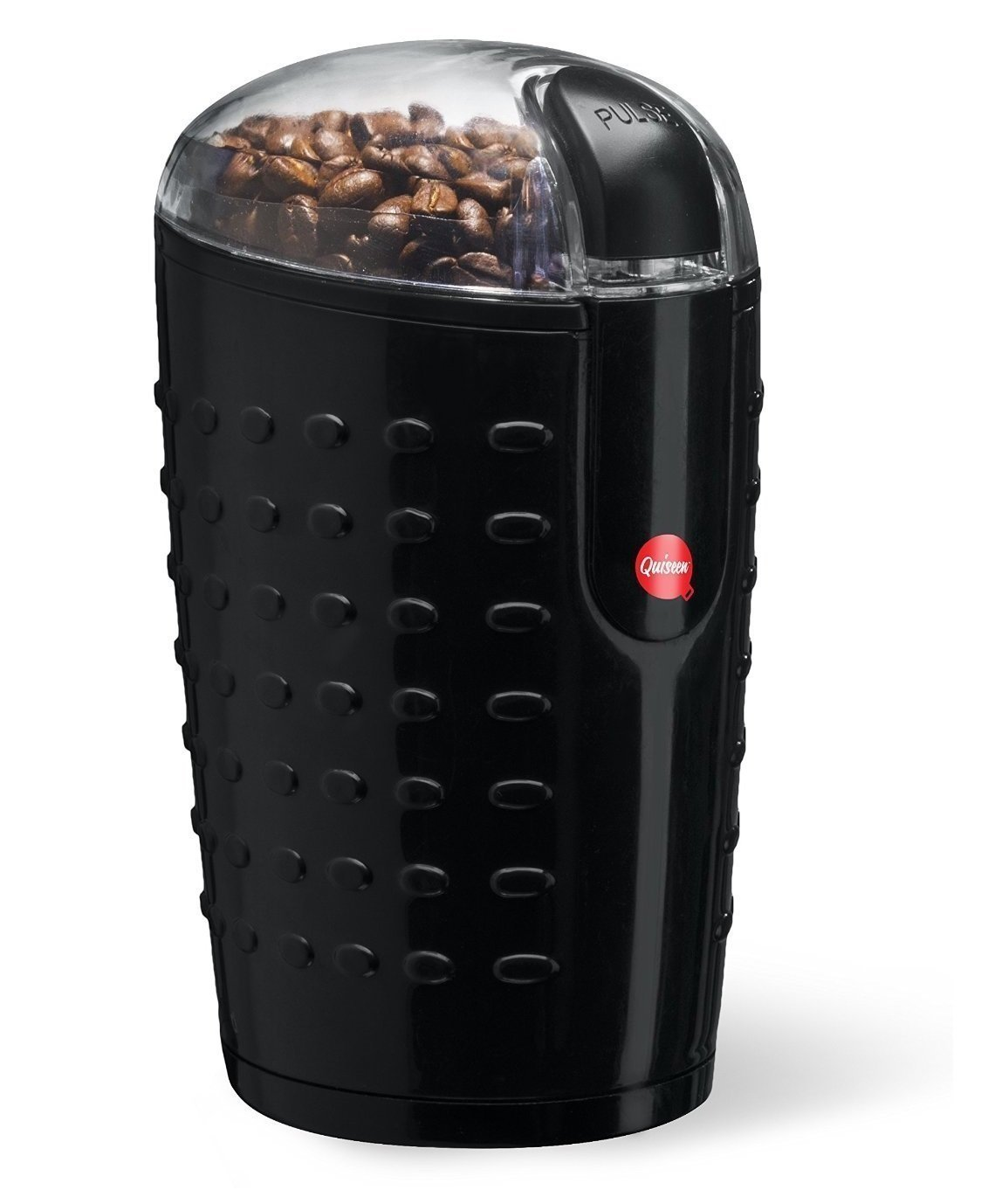 Quiseen One-Touch Electric Coffee Grinder. Grinds Coffee Beans, Spices, Nuts and Grains - Durable Stainless Steel Blades (Black) by Quiseen Q-CG001
